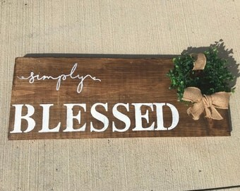 Simply blessed farmhouse rustic wall sign
