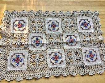 Vintage rectangle handmade embroidery table doily houseware home decor, vases Free shipping