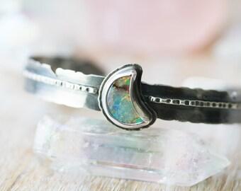 Monarch Opal Cuff, Crescent Moon Cuff, Sterling Silver Feather Cuff Bracelet... Mr. Raven... Wild's My Favorite Color...