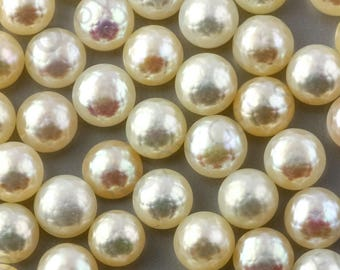 White Cultured Freshwater Pearls Half-Drilled Button 7.5-8mm ROSE CUT, 1 piece