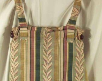 Handmade Tote Bag Handbag Vintage Barkcloth Laurel Leaf and Stripe Pattern in Beige Greens and Rust Colors
