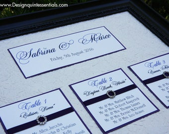Wedding Seating Chart on Embossed Floral Paper with Rhinestone Buckle