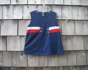 July 4 Baby Girl Acrylic Knit Jumper 1960s Red White Blue Sleeveless