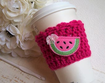 Crochet Coffee Cup Cozy ~ Fuschia with Watermelon Embellishment