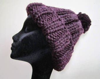 Chunky Hat Pom Pom Hand Knit Wool Acrylic Blend Eggplant Purple Ladies - Size Large