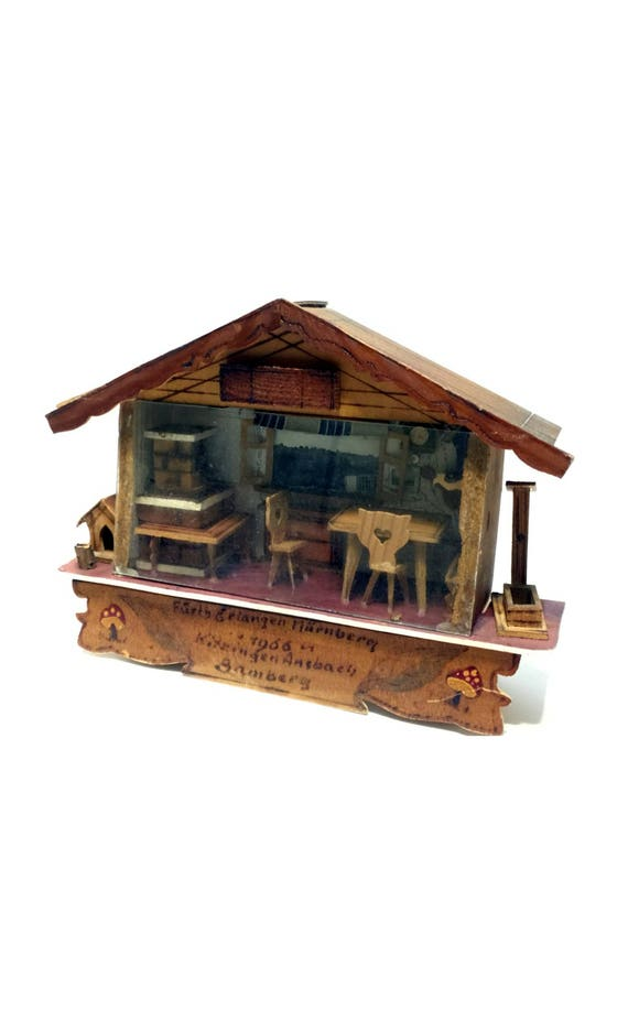 Kitchen Diorama Made Of Cereal Box: Vintage German Handmade Miniature Wooden Diorama Kitchen