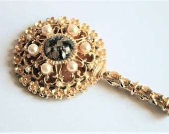 Vintage hand mirror. Pearl and glass mirror.  Small mirror.  Vintage accessories