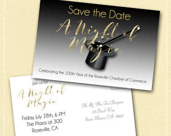 """A Night of Magic Save the Date Post Card, Two-Sided, 4X6"""", Custom Made, Birthday, Anniversary, Prom, Fundraiser, Corporate Event, Magic Wand"""