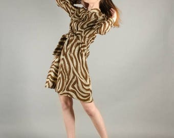40% OFF SALE - Vintage 1970's Wool Zebra Print Long Sleeve Mini Dress