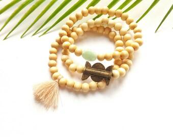 Tassel bracelet set//natural wood// tassel bracelet//statement bracelet//wood bead tassel jewelry//pink tassel jewelry