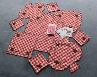 Vintage Red Checkered Embroidered Card Game Tablecloth and 4 Napkins