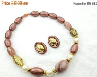 Avon Fresco Colors Beaded Necklace and Clip earrings   1989 Mint Condition Bronze Gold