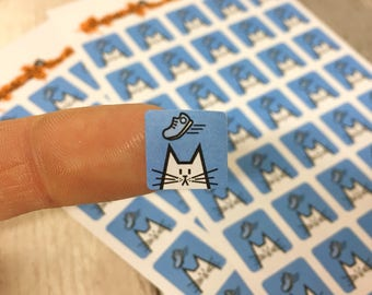 Running cat planner stickers, square icon stickers 12mm, 80 stickers, blue stickers, jogging, walking, trekking, treadmill, cat stationery