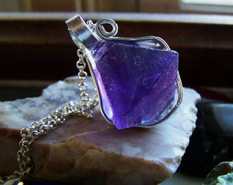 Purple Fluorite Crystal Octahedron Cube Necklace