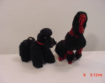 2 Vintage Stuffed Toy French Poodles   17 - 1284