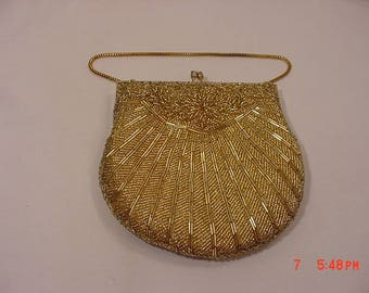 Vintage Gold Glass Beads Evening Purse Or Clutch  18 - 60