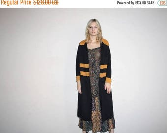 On SALE 40% Off - Flapper 30s Style Vintage 1960s Mod Brown and Black  Long Wool Cardigan Coat - 1960s Mod Jacket - W00720