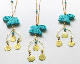 elephant pendant necklace, hammered brass coin and blue stone elephant necklace