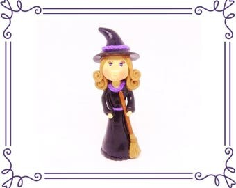 Cold Porcelain Clay Witch Holding a Broom Figurine, Witch Cake Topper, Cupcake Topper, Sculpture, Witch Ornament, Halloween Decor, Gift