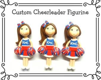 Custom Cold Porcelain Cheerleader Figurine, Pendant, Cheerleader Ornament, Bow Center, Purse Charm, Magnet, Brooch, Team Gift /DIY Necklace