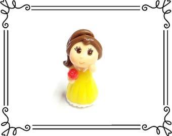 Cold Porcelain Clay Miniature Princess Belle Figurine, Clay Charm, Pendant, Purse Charm, Beauty & Beast Chibi, Decor /DIY  Princess Jewelry