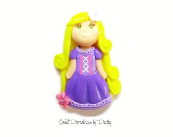 Princess Rapunzel Bow Center, Pendant, Ornament, Purse Charm, Brooch, Magnet, Necklace, Cold Porcelain Clay Rapunzel Figurine, Jewelry, Gift