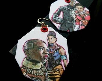 Black Panther Movie - hand-painted comic book earrings - T'Challa Nakia Okoye Shuri