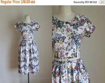20% off SALE 50 Percent OFF...last call // vintage 1980s floral dress - ERIKA cabbage rose print cotton jersey dress / m