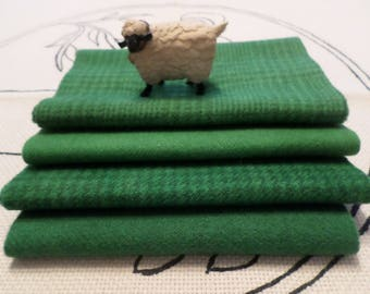 Hand Dyed Wool Bundle, PINEY WOODS GREEN, Rug Hooking, Applique, Penny Rugs,Fiber and Textile Arts