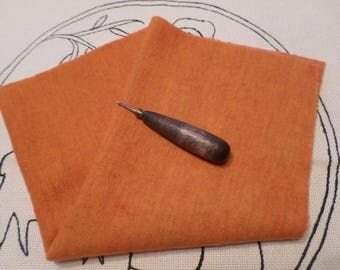 RUSTIC PUMPKIN, Hand Dyed and Felted Wool, Rug Hooking, Applique, Textile and Fiber Arts