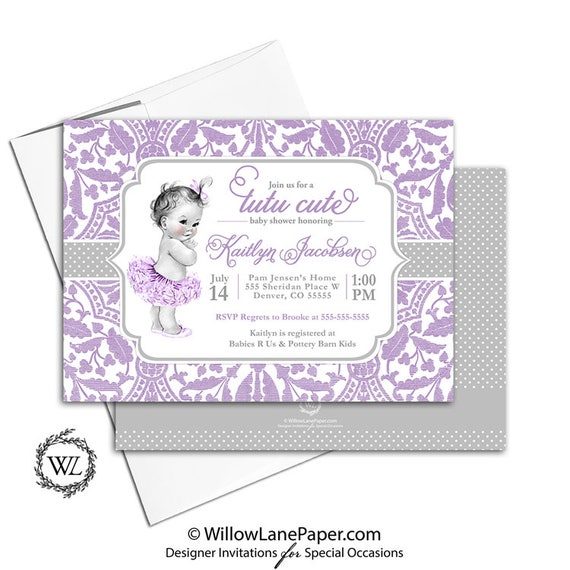 Tutu cute baby shower invitation purple and silver tutu baby shower il570xn filmwisefo