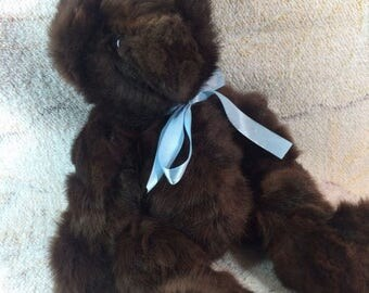 SUMMER SALE Real Fur Teddy Bear Rabbit Fur Dark Brown Teddy Bear Handmade Blue Bow