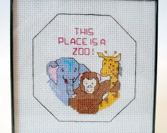 This Place Is A Zoo Completed Cross Stitch in Frame