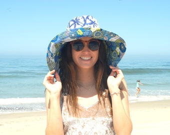 Fun Wide Brim Sun Hat, Vacation Honeymoon Sunhat, Lounging by the Pool Hat, Luau Hawaiian Trip Hat, Gift for Her by Freckles California