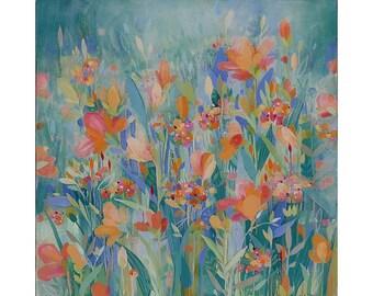 Wild! flowers, Painting on Canvas, 16x16 Original Art, home decor