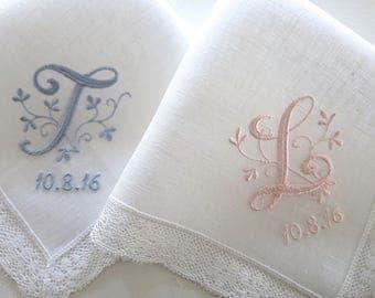 Linen Wedding Handkerchiefs, Wedding Hankerchiefs, Monogrammed Wedding Handkerchief,  Personalized Wedding Hankerchief, Bridal Hankie