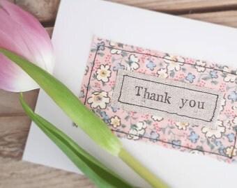 Thank you card, fabric thank you card, handmade thank you card, thank you note, thank you notelet