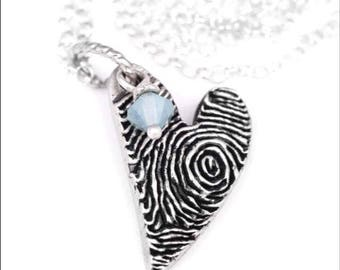 Fingerprint Heart Charm Necklace with Gemstone & Actual Handwriting on Back