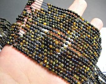 Tiger eyes - 3mm round -125 beads - part blue tiger eyes - full strand - PG49