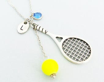Tennis racket and tennis ball necklace with initial and birthstone-Tennis gift idea for tennis palyer and tennis coach-I love tennis jewelry