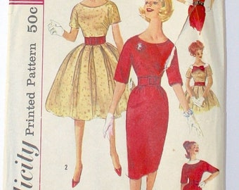 50% OFF SALE 1950s Party Dress . Vintage 50s Nipped Waist Circle Skirt or Wiggle Skirt Simplicity Pattern 3536 Prom Dress . Bust 33
