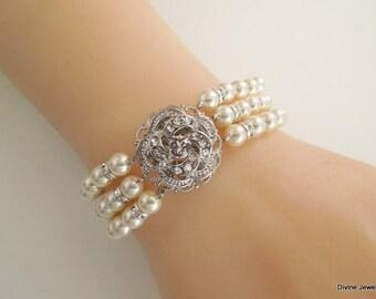 Bridal Bracelet, ivory swarovski pearl and crystal Bracelet, Statement Bridal Cuff, Wedding Rhinestone Bracelet, swarovski crystal, ROSELANI