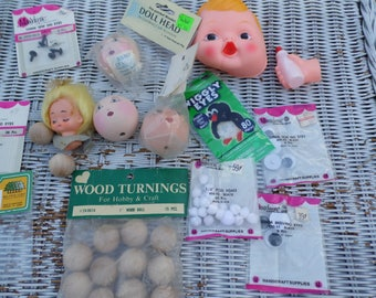 Notions for doll making doll crafting vintage lot of doll heads and wiggly eyes, wood balls, pom poms