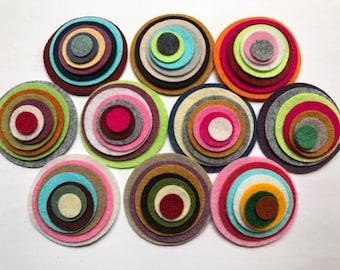 Wool Felt Circles Die Cut 70 total -  Sizes 2in - .5in Random Colored 4119 - Hair Clip Supply - Circle Die Cut - Merino Felt - DIY Felt