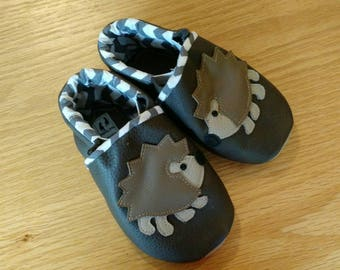 Baby boy's gray hedgehog shoes size 4/ 6-12 months, leather soft soled shoes, moccasins, boy baby shower gift