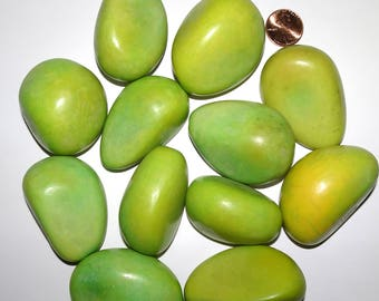 12 BIG Light Lime Tagua Nuts, NOT Drilled, EcoBeads, Organic Beads, Vegetable Ivory 5