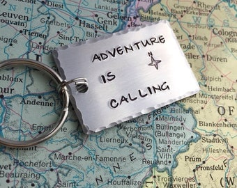 Adventure Is Calling Keychain - Travel Keyring - Travel Bag Charm - Travel Keychain