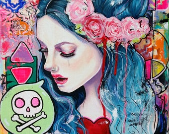 Shift - 11x14 Satin Paper Print  Wall Art Pop Surrealism New Contemporary Woman with Blue Hair and Skull Lowbrow Fine Art