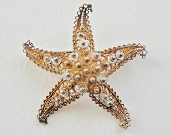 Gold Starfish Brooch 800 Silver Cannetille Filigree Gold Overlay Gold Vermeil Starfish Jewelry Nautical Beach Resort Vintage Jewelry Pin