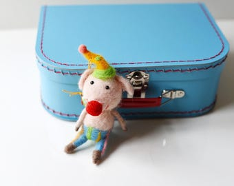 Medium Blue Paper Suitcase with Felted Animal
